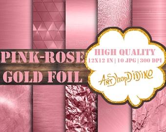 Rose Gold Digital Paper, Pink Rose Gold Foil Backgrounds, Metallic Pink Rose Gold Foil, Printable Rose Gold Backdrop,Rose Gold Foil Textures