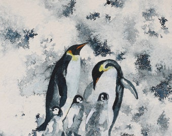Emperor Penguins and Three Babies