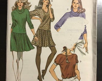 Kwik Sew 1231 - Dolman Sleeve Top or Dress with Dropped Waist and Flared Skirt - Size XS S M L - MN