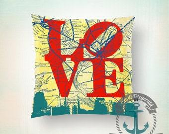 Throw Pillow | Philadelphia Love  | Philly Map & Skyline   | Size and Price via Dropdown