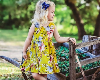 Yellow floral twirl dress