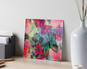 Encaustic Floral Butterfly Burst Art Board / Art for Small Spaces / Collectible Small Format Art / Made to Order in 3 Sizes