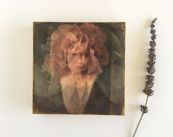 Original photo encaustic, ready to hang art, small art, art as gift, flower art, flower photography, shabby chic art