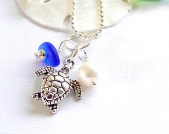 Cobalt Blue Sea Glass Jewelry  Honu Necklace Beach Glass Garden Leaf Seaside