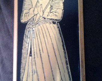 Vintage Brass inlayed plaque of Jane Dirkin 1625