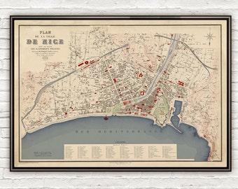 Old Map of Nice France 1882 Vintage Map
