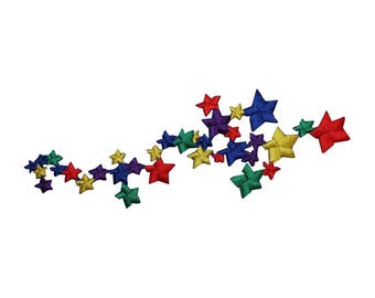 ID 5131 Rainbow Star Cluster Patch Night Sky Shoot Embroidered Iron On Applique