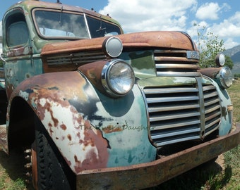 Old Truck,  Rustic Taos Truck, New Mexico, Southwest Art, Original Photograph, 5 x 7 Matted Photograph