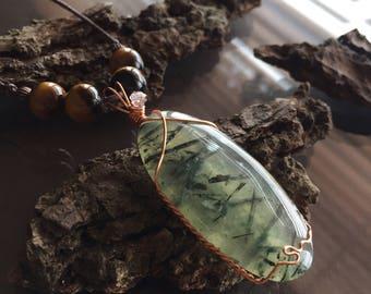 Prehnite, Herkimer Diamond and Tiger Eye Necklace, Prehnite Necklace