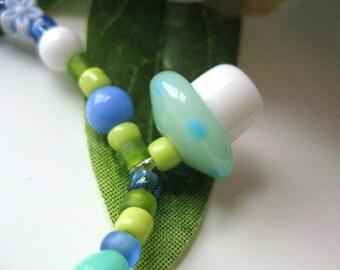 Girls Bracelet with mushroom pendant, Blue, Green and White, Medium, GBM 164