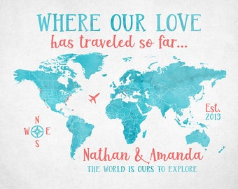 World Map, Where our Love Has Traveled, Gift for Husband, Wife, World Travels, Traveler Gifts, Anniversary Gift, Large Map Canvas | WF437