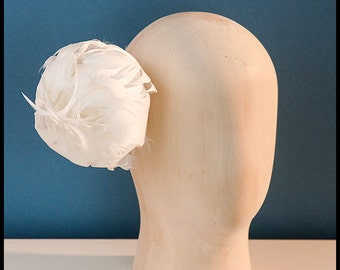 White feather flower ,bridal fascinator ,wedding hat,peony flower headpiece,