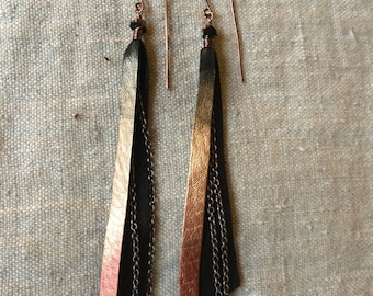 Copper and Leather Fringe Earrings