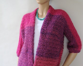Crochet Cardigan, Crochet Jacket Cardigan, Red Cardigan, Cardigan Women, Wildberries Stripes, Sister Gift, Available in S/M, L/XL and 1X/2X