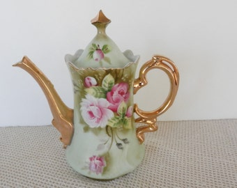 Lefton Coffee Pot, Heritage Rose, Lefton Collectibles, Lefton Green,  0365, 8.75 inches, shabby chic,  22kt  gold trim, mint condition,