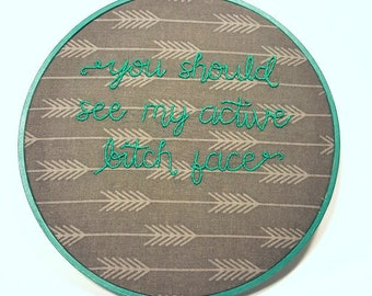 Active B Face embroidery hoop - stitching, cross stitch, bordado