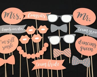 Peach and Gray Wedding Photo Booth Props