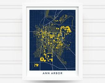 ANN ARBOR MICHIGAN Map Print - Home Decor - Office Decor - Artwork - Poster - Wall Art - Michigan Gift - University of Michigan Gift