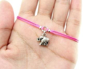 Elephant Charm Bracelet, Bright Rose Waxed Cord Bracelet, Friendship Bracelet