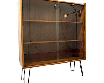 Mid-Century Bookshelf Danish Modern Walnut Bookcase/Display Cabinet on Hairpin Legs #2