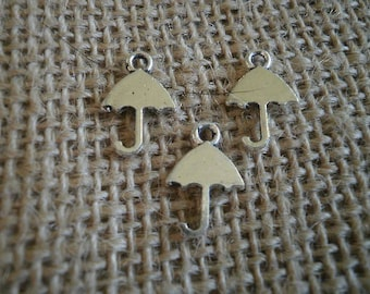 Set of 3 umbrellas silver-plated charms, size 16 x 10 mm