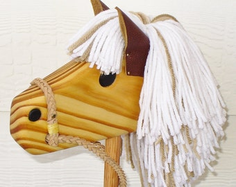 White and Tan Hobby Horse - Stick Horse - Waldorf Animal Toy