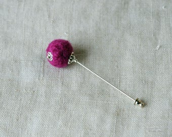 Needle Felted Stick Pin, Pink, Fuchsia, Hot Pink, Silver Tone, Filigree, 3 Inch Pin, Hat Pin, Lapel Pin, Hijab Pin H0369