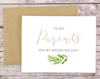 To My Parents On My Wedding Day Card, Wedding Card, Parents of the Bride, Parents of the Groom, Greenery Card - (FPS0060)