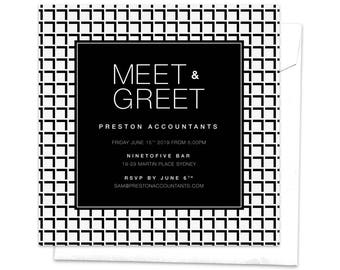 Meet and Greet, Work Function, Professional Event, Work Event, Corporate Event, Work Party, Work Dinner, Modern Invitation, Black and White