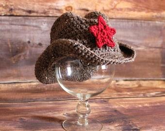 Sombrero de vaquero - sombrero de vaquera con estrellas extraíble - punto a sombrero de vaquero del ganchillo vaquero bebé niño niño infantil recién nacido tan marrón negro gris
