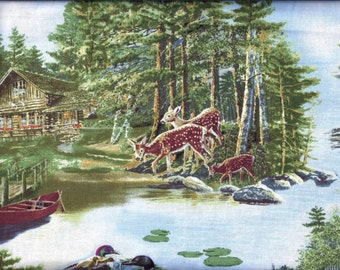 Wilderness Camp Canoe Deer Ducks Eagle Curtain Valance