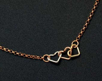 Three Hearts Necklace in 14kt Rose Gold Filled - The Perfect Gift for a Special Someone