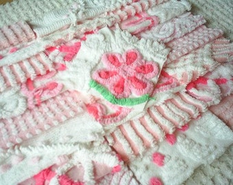 """Vintage Chenille Bedspread Squares -Pretty Pinks-25-6"""" squares"""