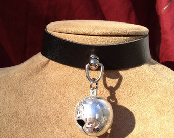 Silver Frost Bell on Black Leather Choker