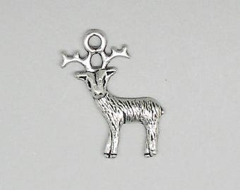 1 size 25 mm antique silver deer charm