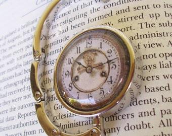 Steampunk Bag Hanger (H505) - Purse Hook - Vintage Clockface Artwork Under Glass