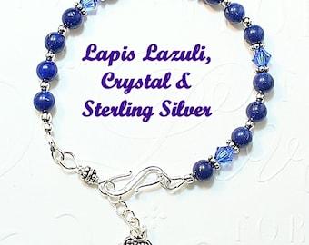 Lapis Lazuli Bracelet, Blue Crystal Bracelet with Sterling Silver Heart Charm - B2017-01