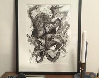 Black. Original drawing. Ink. Watercolor. Cloé 2016