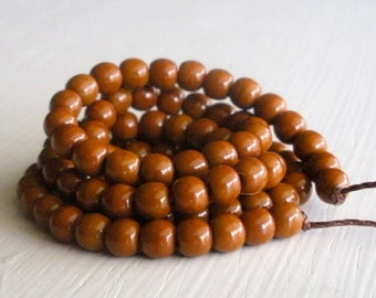 100 Opaque Umber 4mm Rounds - Czech Glass Beads