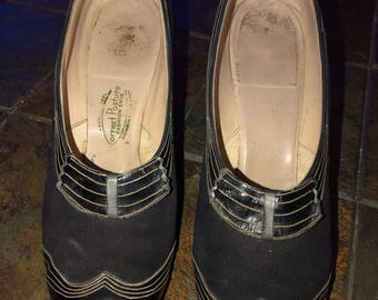 Black 1930's/1940's Suede and Leather Shoes