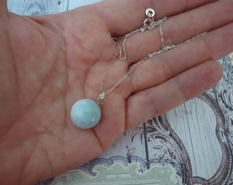 "Larimar 14mm Bead Pendant with 925 Sterling Silver Bale on 18"" Sterling Chain"