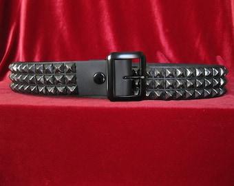 Black Leather Three Row Black Pyramid Belt from Ape Leather