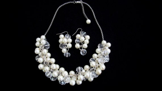Ivory Pearls Cluster Necklace Earrings Set Pearl With Clear Crystals Bridal Jewelry Set Free Shipping In USA