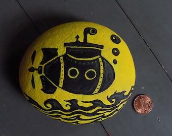 Little Black Submarine Painted Stone
