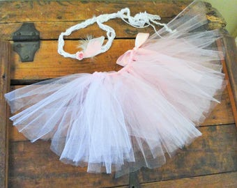 Tieback and Tutu Feather Flower Pink Floral Boho Outfit Feather Headband