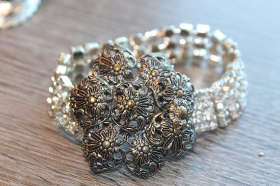 Crystal rhinestones CUFF bracelet, repurposed silver filigree flower belt buckle, Steampunk, Art Nouveau, vintage assemblage jewelry, OOAK