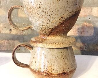 Handmade Ceramic Coffee Pour Over + Mug