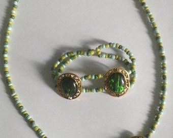 Blue green necklace and bracelet set