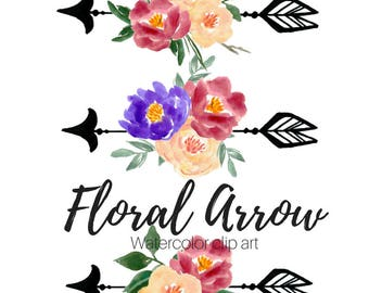 Floral  Clip Art - Arrow Clip Art - Wedding Clip Art - Hand Drawn -  Watercolor Clip Art Commercial Use