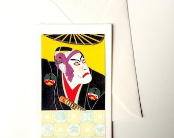 Card and envelope, pattern Japanese traditional UKIYOE KABUKI (F1306)